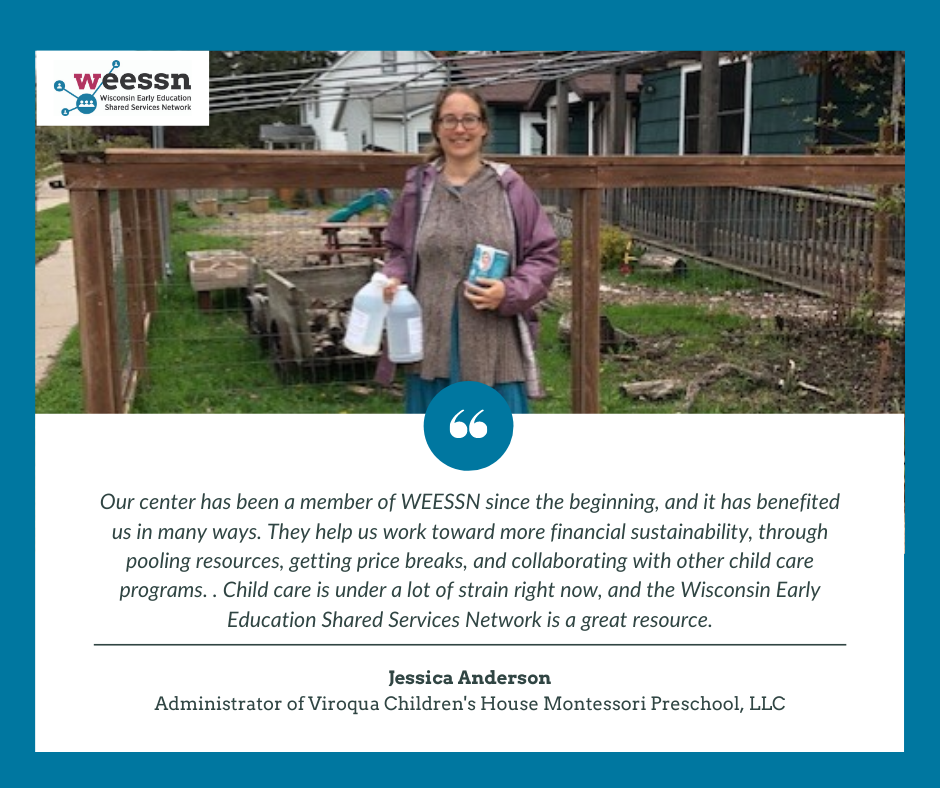 Jessica Anderson, Administrator of Viroqua Children's House Montessori Preschool, LLC receiving PPE delivery from WEESSN.
